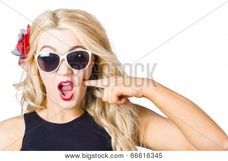 Shocked Blonde Makeup Woman. Cosmetic Application