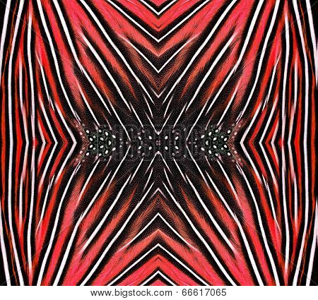 Beautiful Pattern Made From Red Bird Feathers For Background And Design