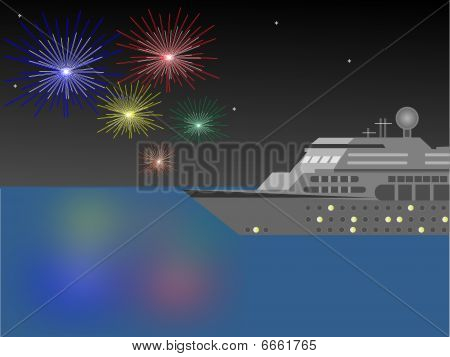 Cruise Ship And Fireworks