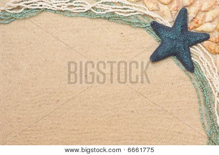 Background With A Blue Starfish And Shells
