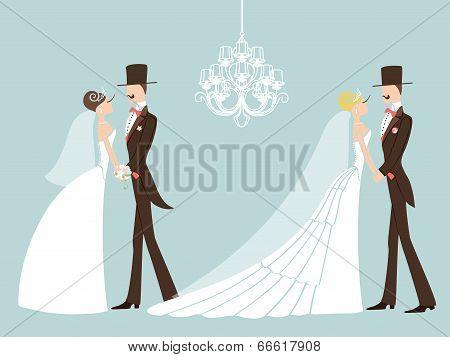 Cute Retro Wedding Set. Cartoon Couple Bride And Groom.eps