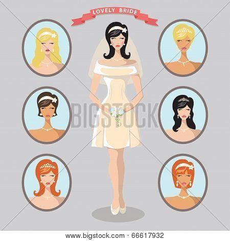 Lovely  Bride Images Set. Wedding Design Template