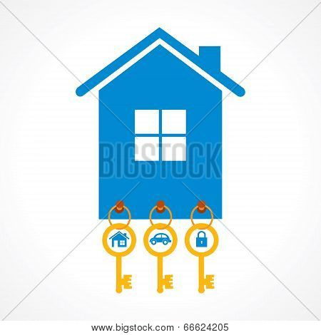 key for home ,car and lock hanging on a keychain stock vector