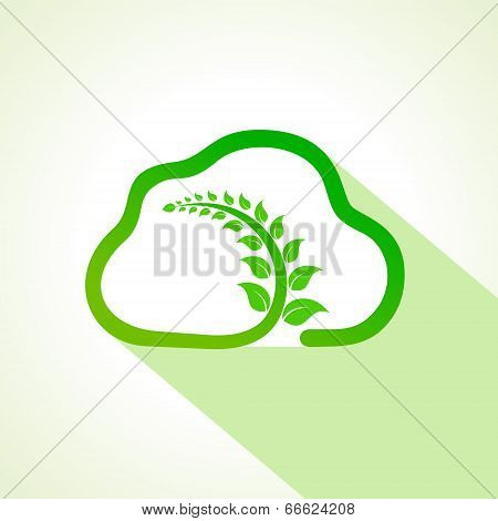 leaf inside the eco cloud stock vector