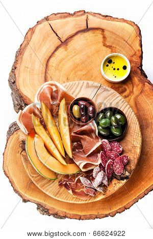 Antipasto Ham, Melon And Olives
