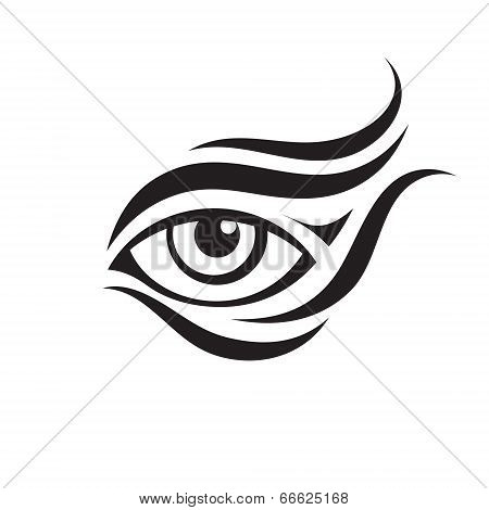Human Eye Sign - Vector Graphic Illustration in Black & White Color