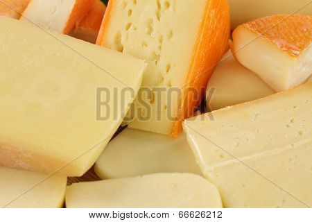 Cheese Plate With Gouda, Hard And Swiss Cheese