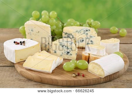 Cheese Plate With Camembert, Soft Cheese And Brie