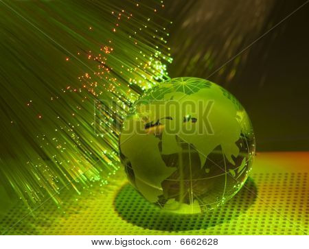 technology earth globe against fiber optic