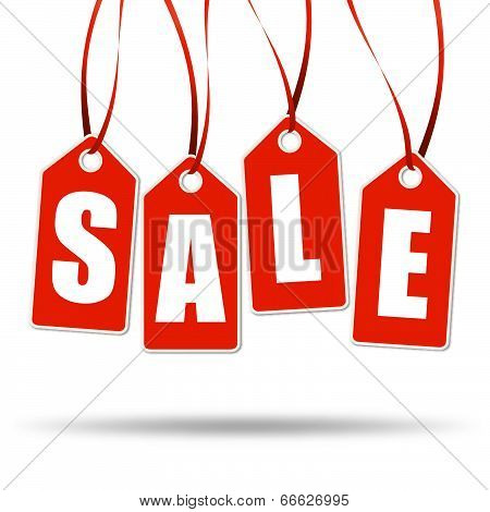 4 Red Labels With Sale