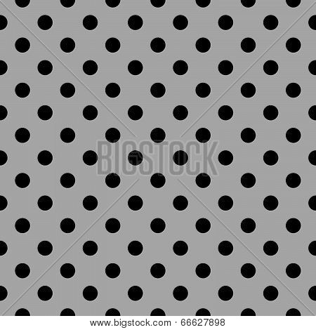 Seamless vector black and grey pattern or tile background set with polka dots