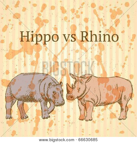 Sketch Hippo Vs Rhino, Vector Seamless Pattern Eps 10