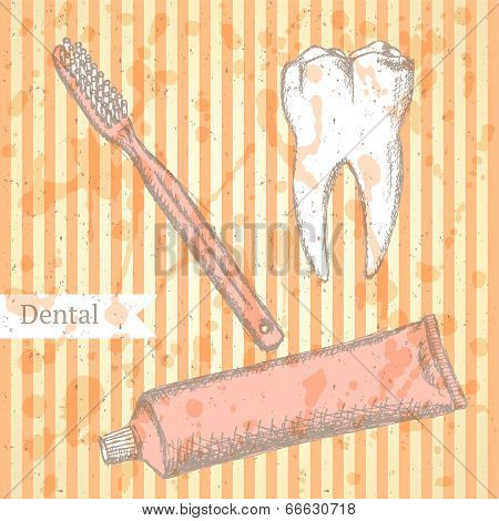 Sketch Tooth Paste, Tooth Brush And Teeth, Vector Background