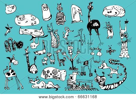 Vector cartoon fanny animals set