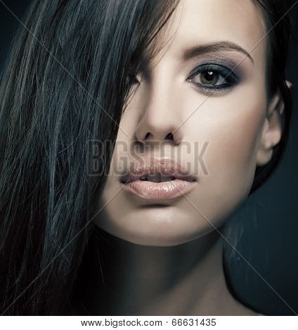 close-up portrait of a beautiful woman, studio shoot