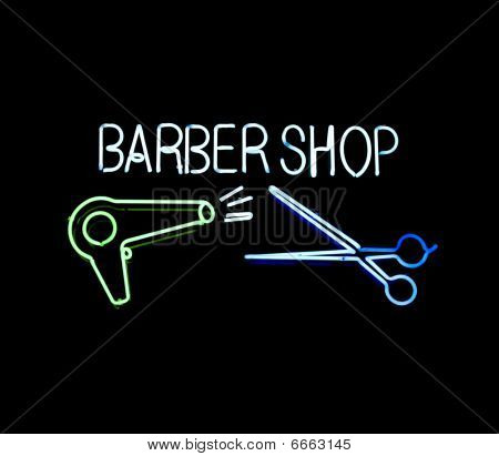 Neon Barber Shop Sign