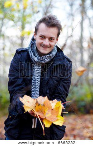 Trendy Modern Guy Showing Leaves