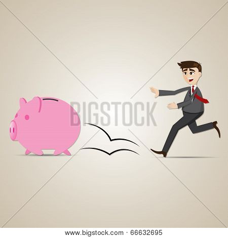 Cartoon Businessman Chasing Piggy Bank