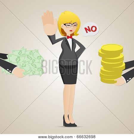 Cartoon Businesswoman Refuse Money From Another Person