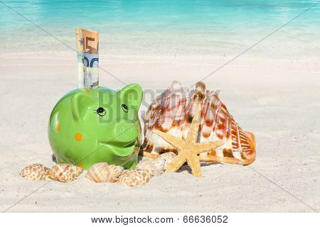 Piggy Bank Savings For Vacation