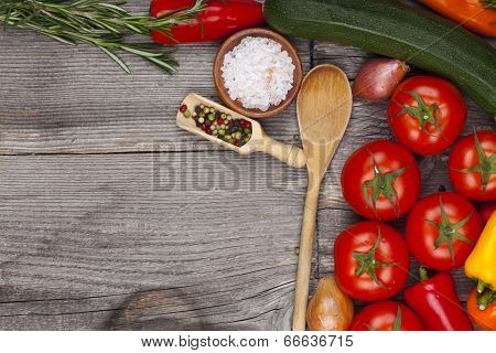 Wooden Board With Vegetables And Copy Space