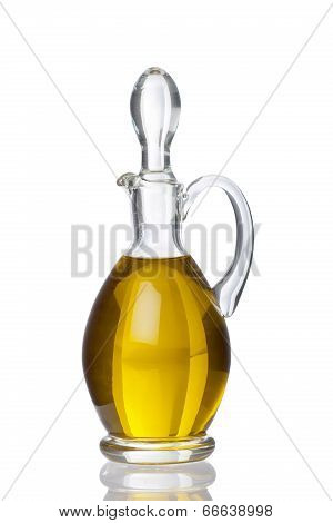 Glass Carafe With Olive Oil And Real Reflection
