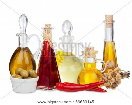 Various Cooking Oils In Glass Carafes