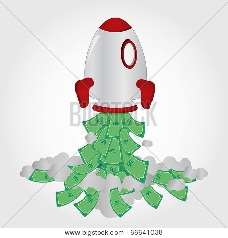 Rocket And Paper Money