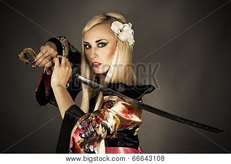 woman with samurai sword