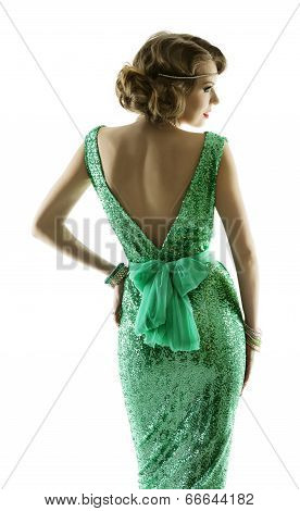 Woman Retro Fashion Sparkle Sequin Dress, Elegant Vintage Style Girl, Isolated On White Background,