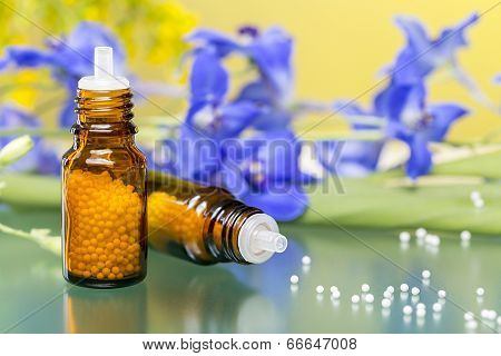 Two Bottles With Homeopathy Globules And Flowers, With Green Reflecting Underground