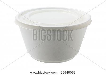 Styrofoam Bowl With Plastic Lid On White Background