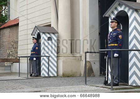 Guard In The Entrance Of Prague Castle