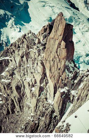 Climber On The Route.aiguille Du Midi