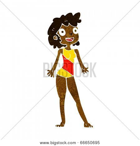 cartoon woman in swimming costume