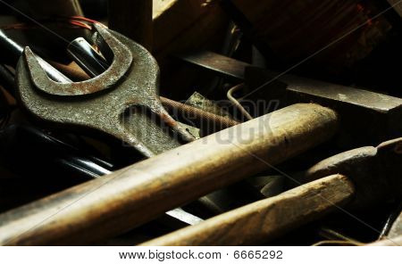 Old Locksmith Tools On The Dark Background