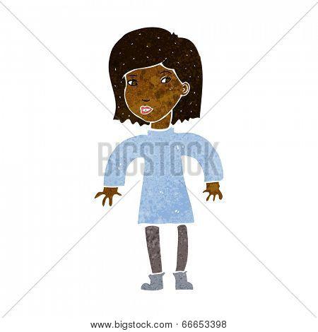 cartoon cautious woman