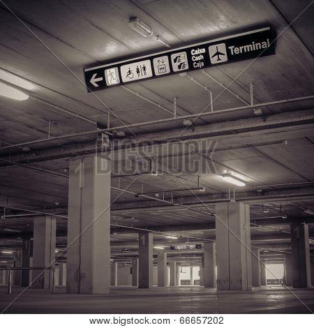 Empty Airport Parking Garage