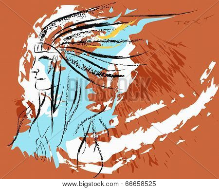 Vector illustration.Red Indian