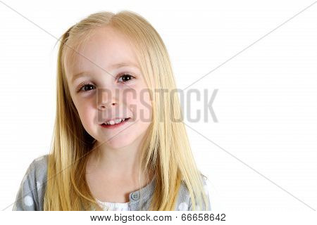 Cute Blond Girl With Brown Eyes And An Endearing Expression