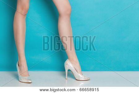 Female Fashion. Silver High Heels On Sexy Legs.