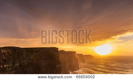 Cliffs Of Moher At Sunset In Co. Clare Ireland