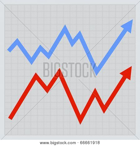 Business graph. Red and Blue Arrowson Light Background. Vector