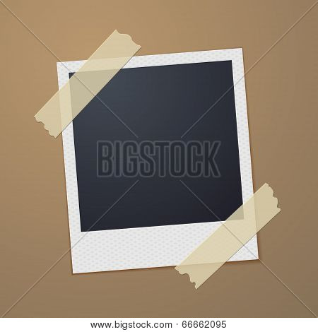 Taped Retro Style Photo Frame. Vector