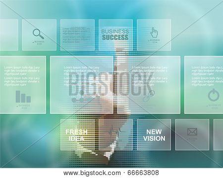 Businessman Pressing Business Diagram