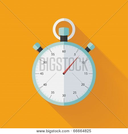 Mint Flat Stopwatch Icon Over Orange