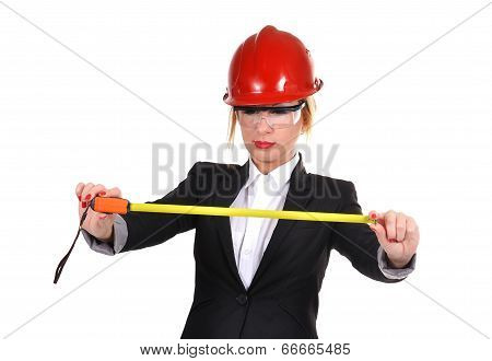 Engineer Woman With Tape Measure