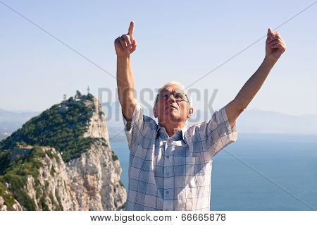 Senior Man Tourist At The Rock Of Gibraltar