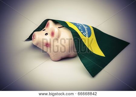 Pig Money Box And Brasil Flag