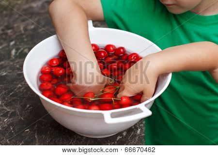 Litte Kids Eating Cherry From Bowl
